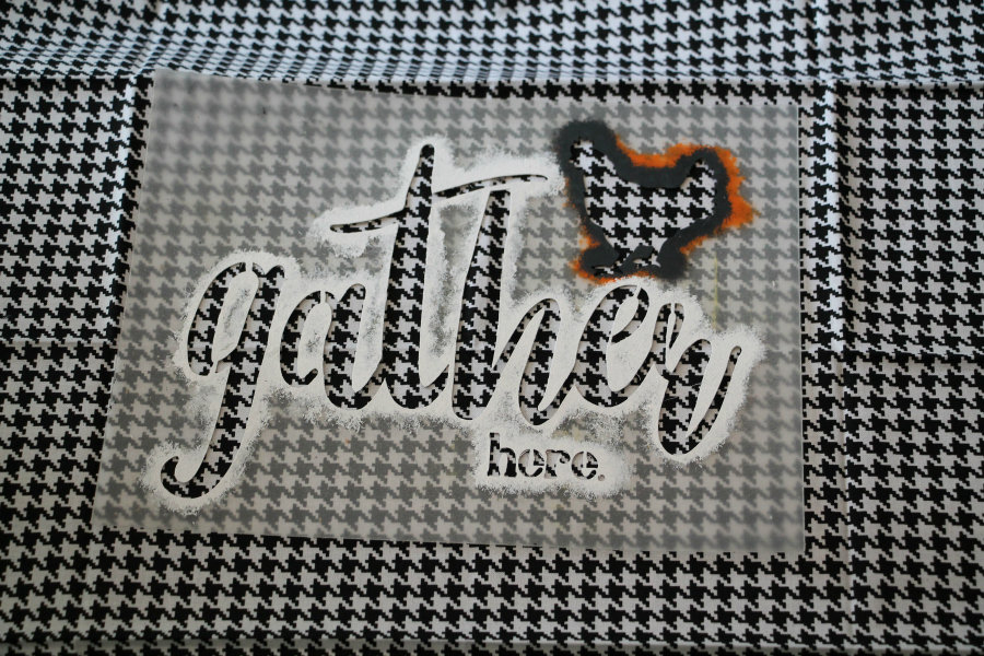 hounds-tooth-fabric-and-gather-here-stencil-by-debbiedoos