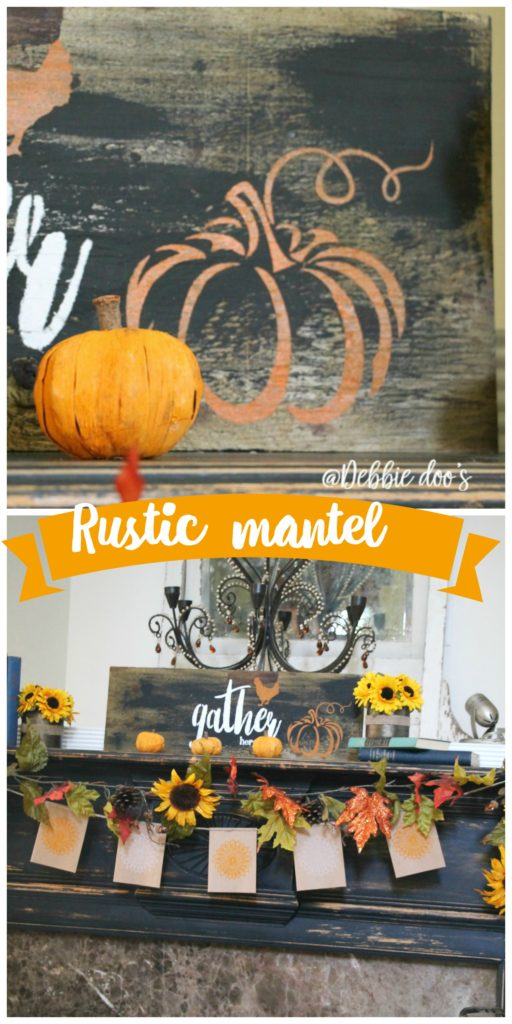 rustic-fall-mantel-with-sunflowers-roosters-and-gather-here-sign-and-stencil-by-debbiedoos
