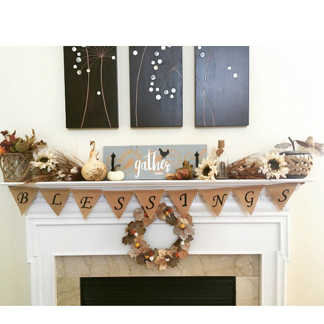 rustic-white-fall-mantel-with-gather-here-sign-and-stencil-by-debbiedoos