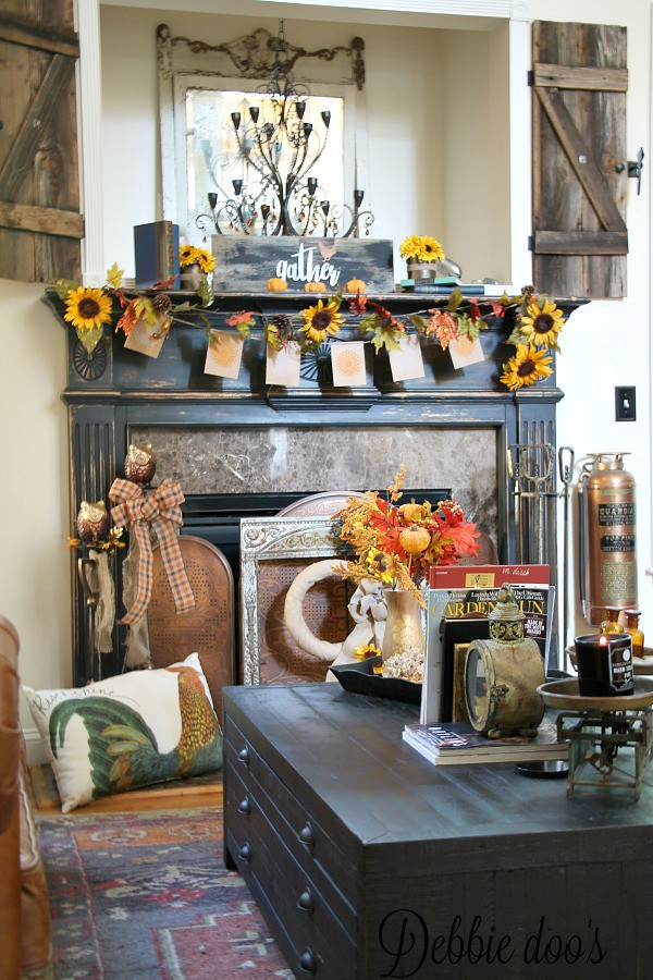 Sunflower rustic fall mantel decor