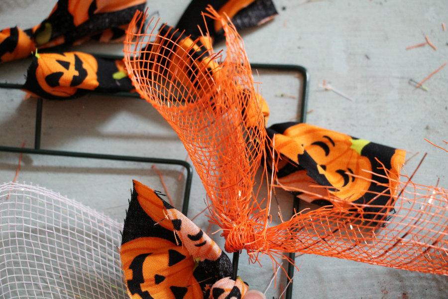 tie-mesh-around-wire-wreath-form