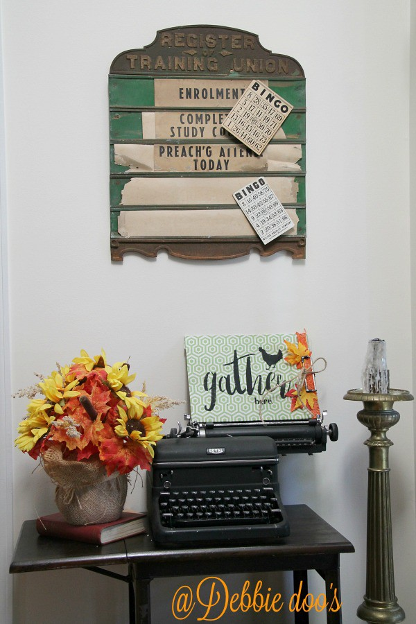 Vintage typewriter and desk