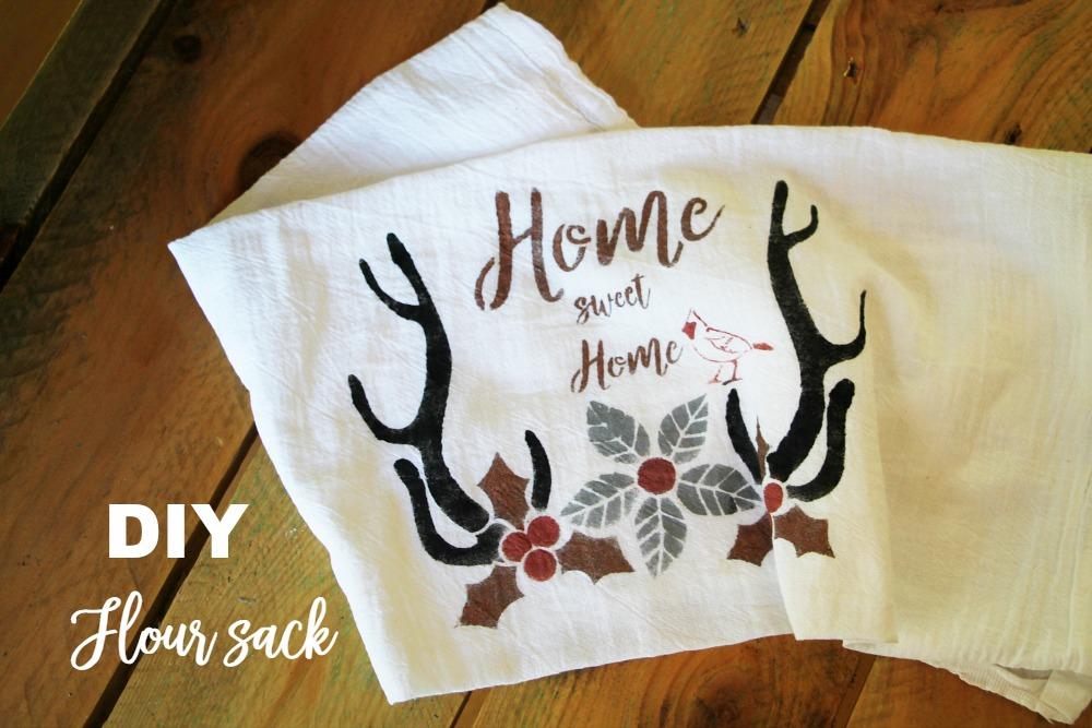 Diy-flour-sack with Debbiedoo's winter stencil