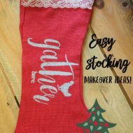 Burlap Christmas stocking makeover