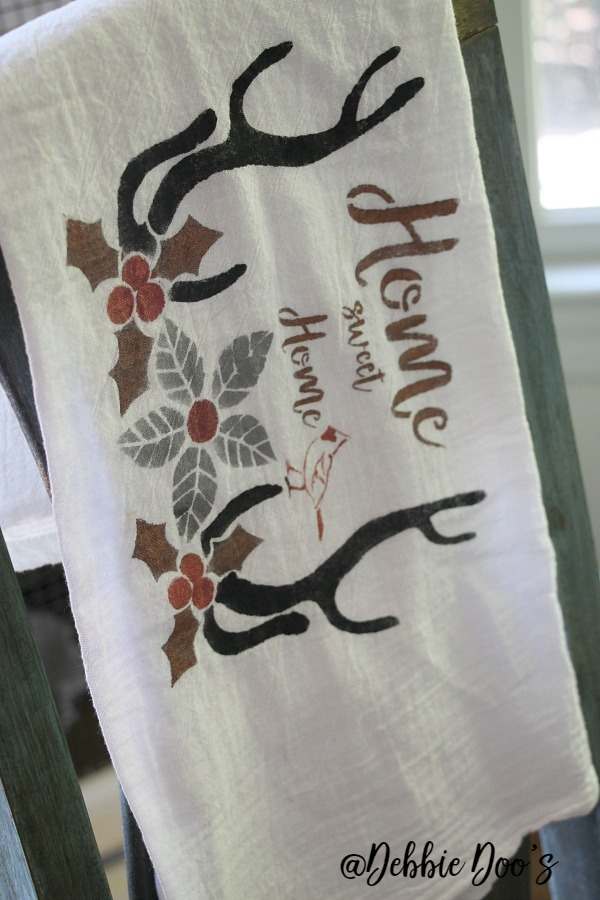 Home-sweet-home-stencil-by-Debbiedoos-stenciled-on-a-flour-sack
