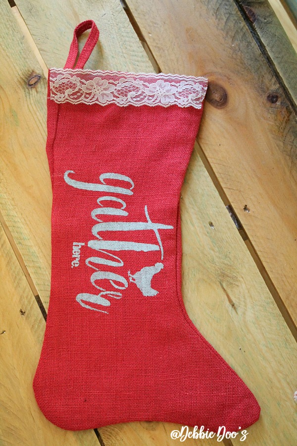 red-burlap-christmas-stocking-with-stencil-gather-here-by-debbiedoos
