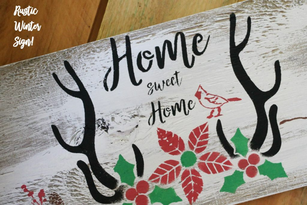 Rustic-winter-sign with Debbiedoo's stencil line