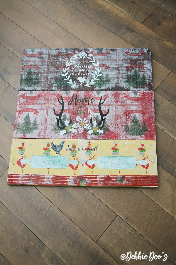 Mod Podge On Wood With Napkins and-debbiedoos-stencils
