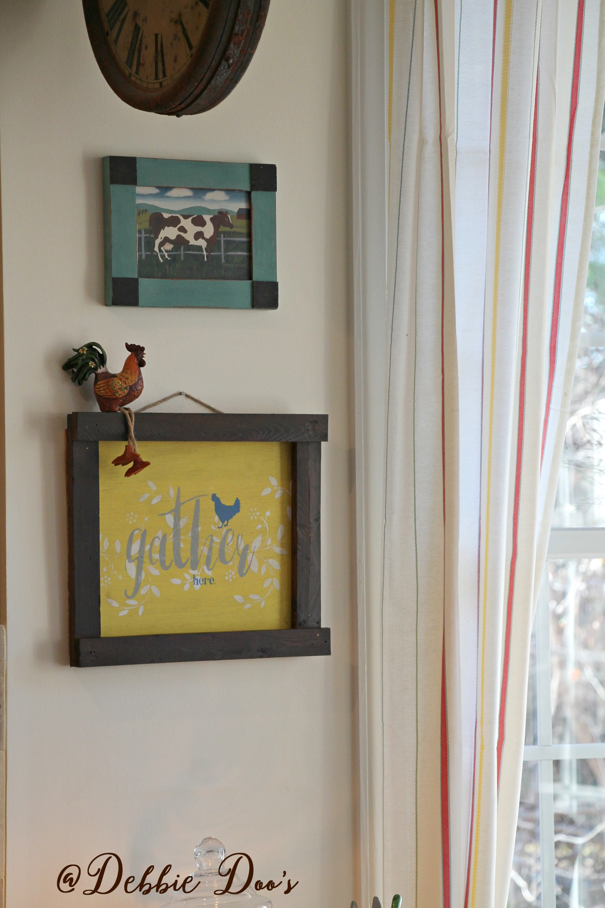 Elegant Everything was getting refreshed This gather here sign I made a few weeks ago and I couldn ut wait to hang it The little cow above it is a Goodwill find