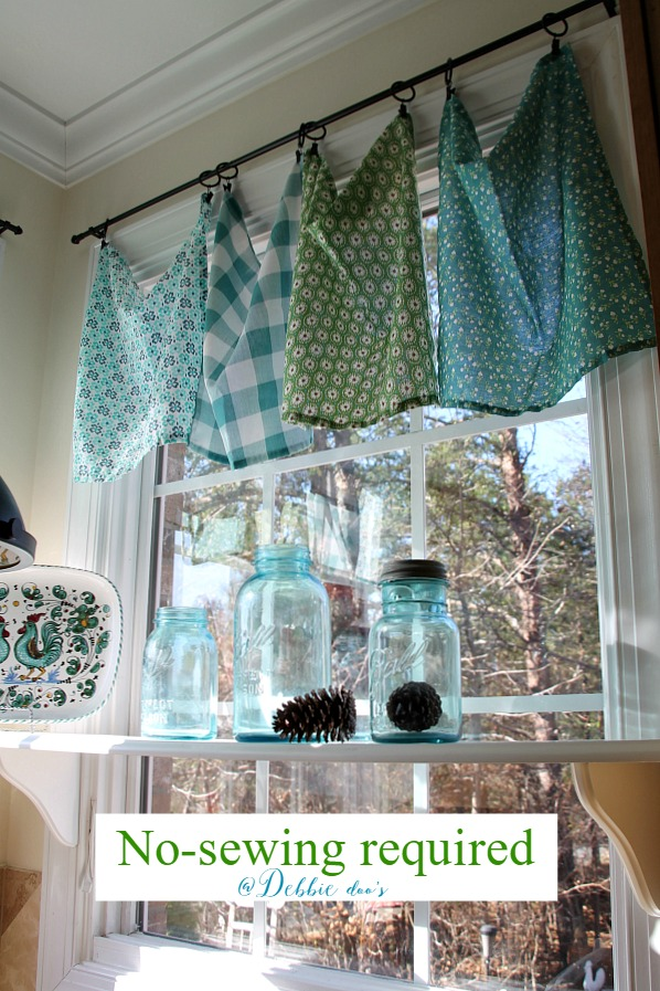 The Pioneer Woman napkins used as window valances