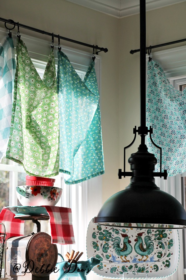 The Pioneer woman's linens used as window treatments