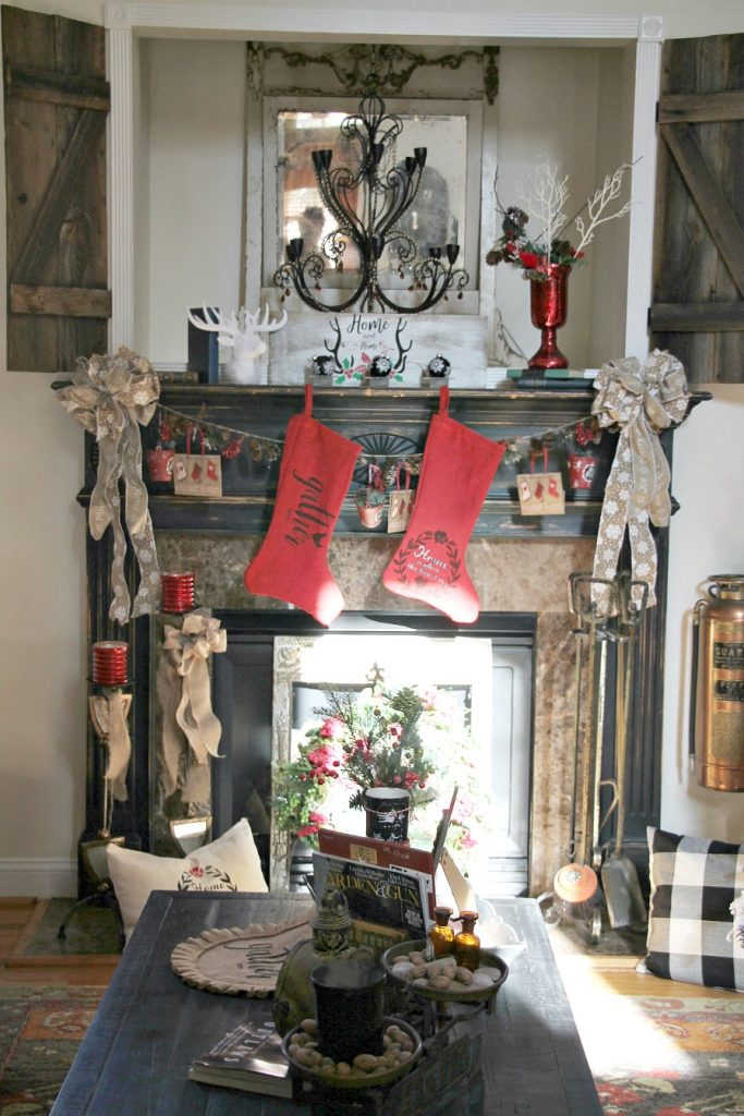 rustic-mantel-decorated-for-christmas