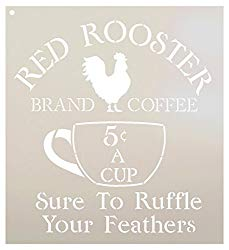 Red rooster country stencil