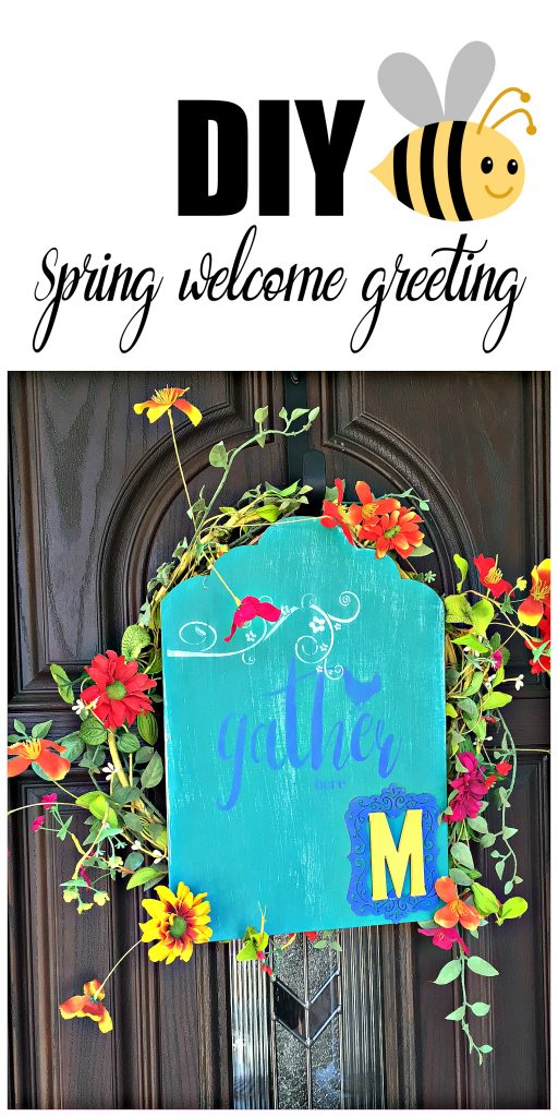 Happy Spring greeting colorful diy welcome sign