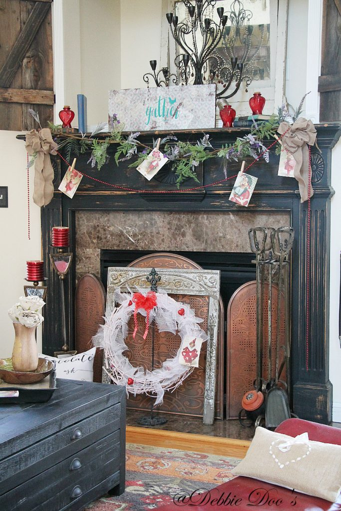 Rustic and Wild Valentine Mantel decorating ideas