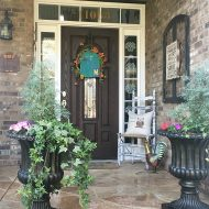 Colorful spring porch with DIY decor