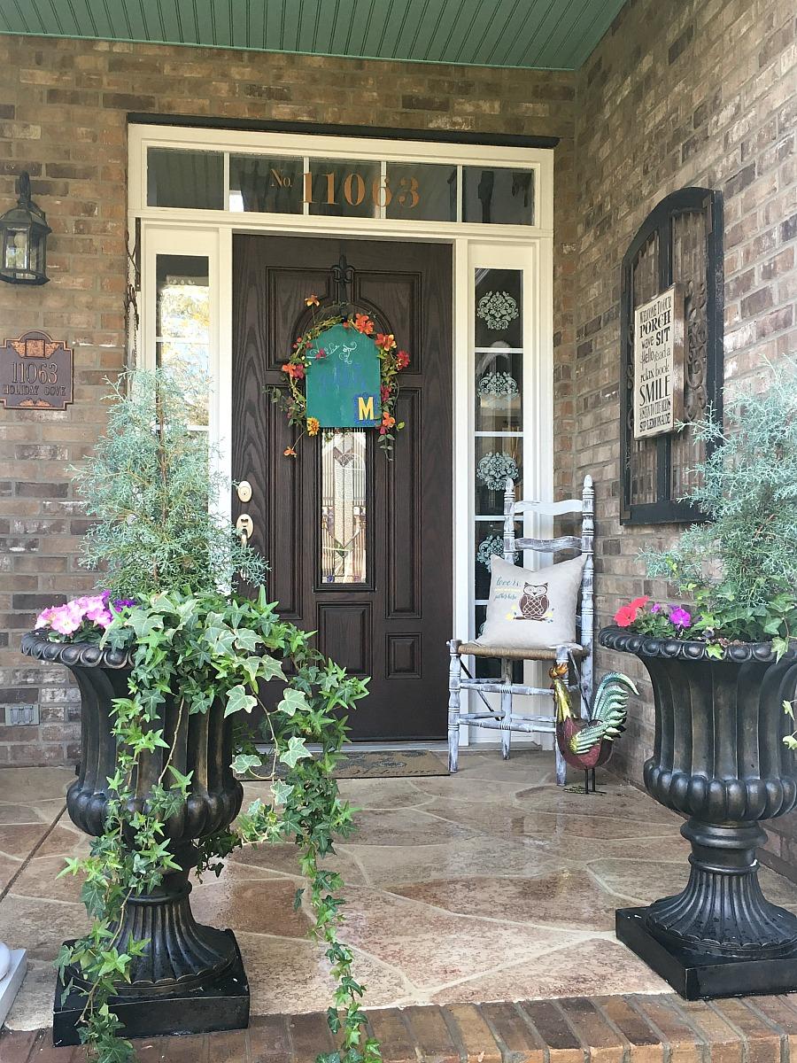 colorful spring porch with diy decor debbiedoos. Black Bedroom Furniture Sets. Home Design Ideas