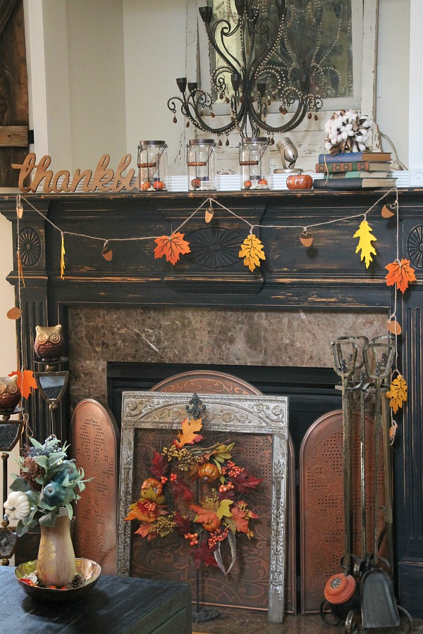 Rustic and simple fall decor in the family room