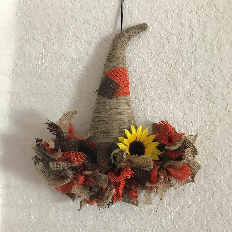 Dollar tree pumpkin and witches hat wreaths - Debbiedoos