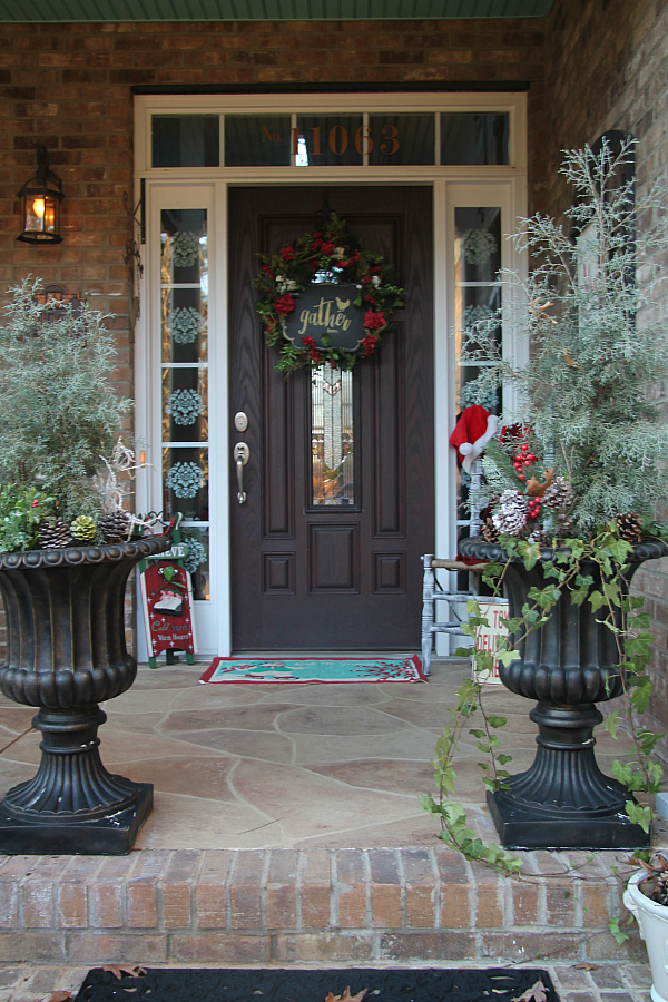 Welcoming Christmas porch entry