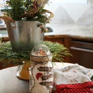 Country rustic Christmas kitchen decorating
