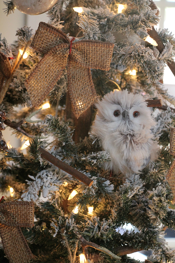 i decorated each tree with a few ornaments of owls and my diy rustic farmhouse ornaments i made a few weeks ago i love those little ornaments so easy