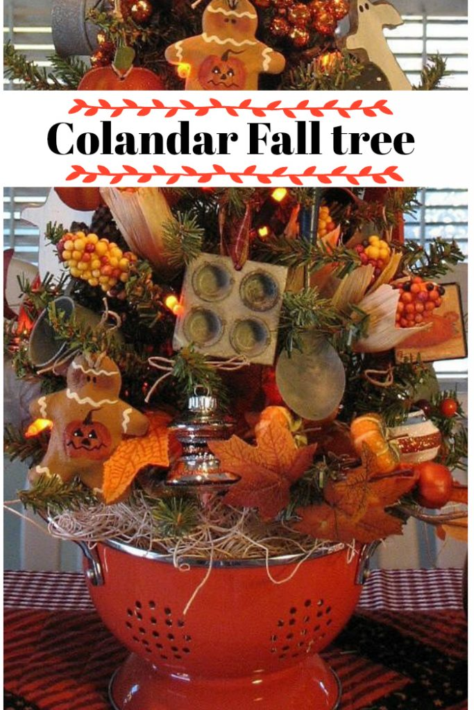 Fall Colander Kitchen tree for the fall season with dollar tree and other kitchen accessories