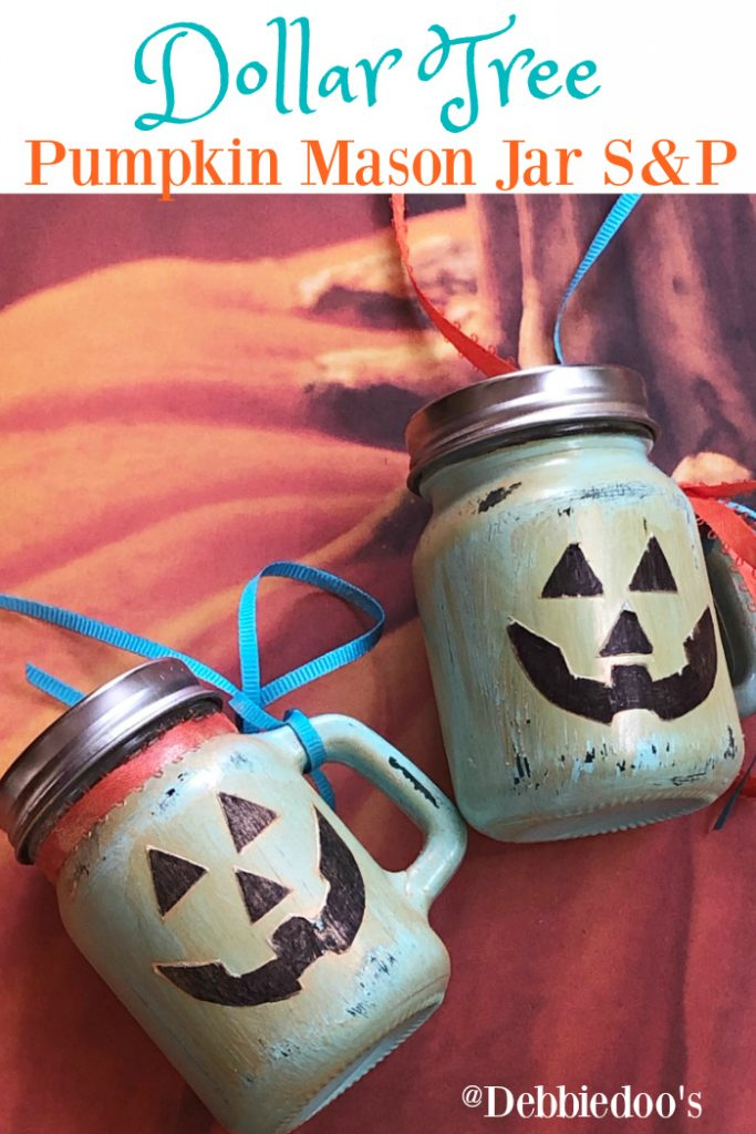 Dollar Tree Pumpkin Mason Jar Salt and Pepper shakers