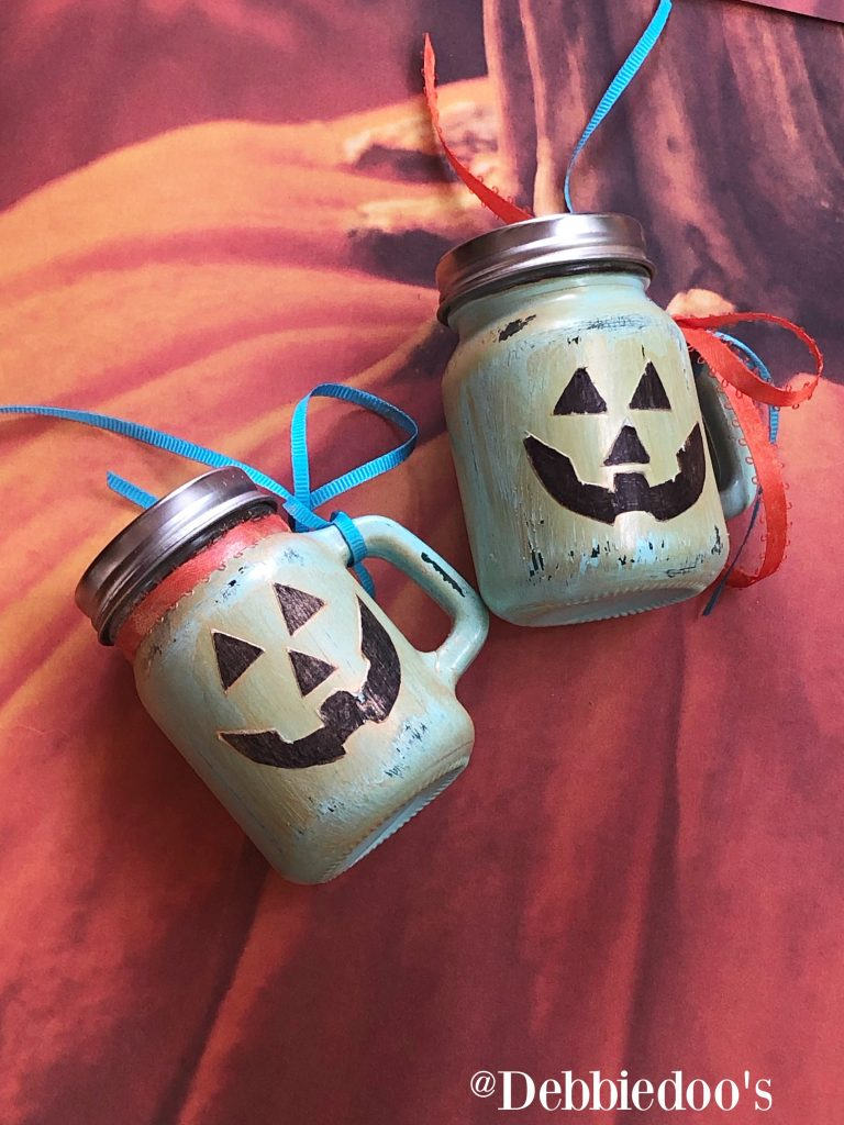 Mason-jar-pumpkins-from-the-dollar-tree-salt-and-pepper-shakers
