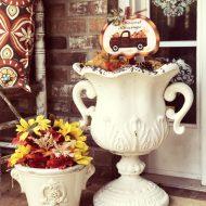 Fauz fall decorating urns and picks