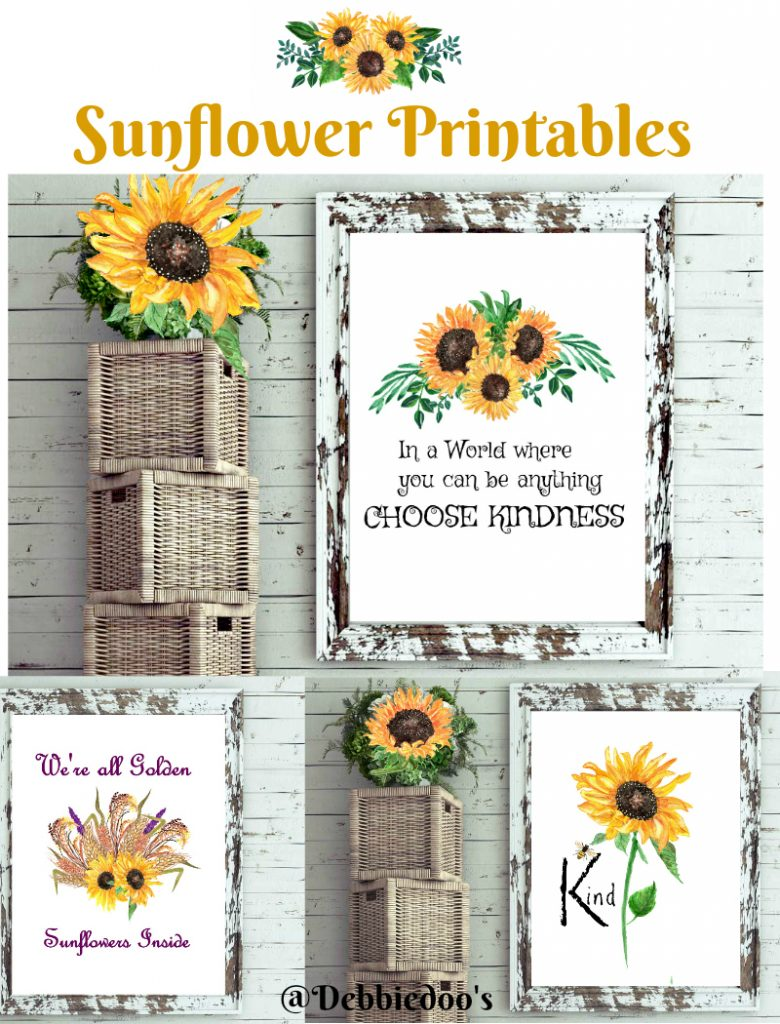 Watercolor sunflower free prints