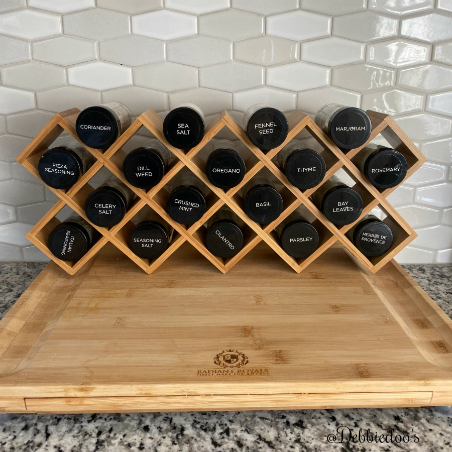 Bamboo spice rack cris cross style with five year free refills