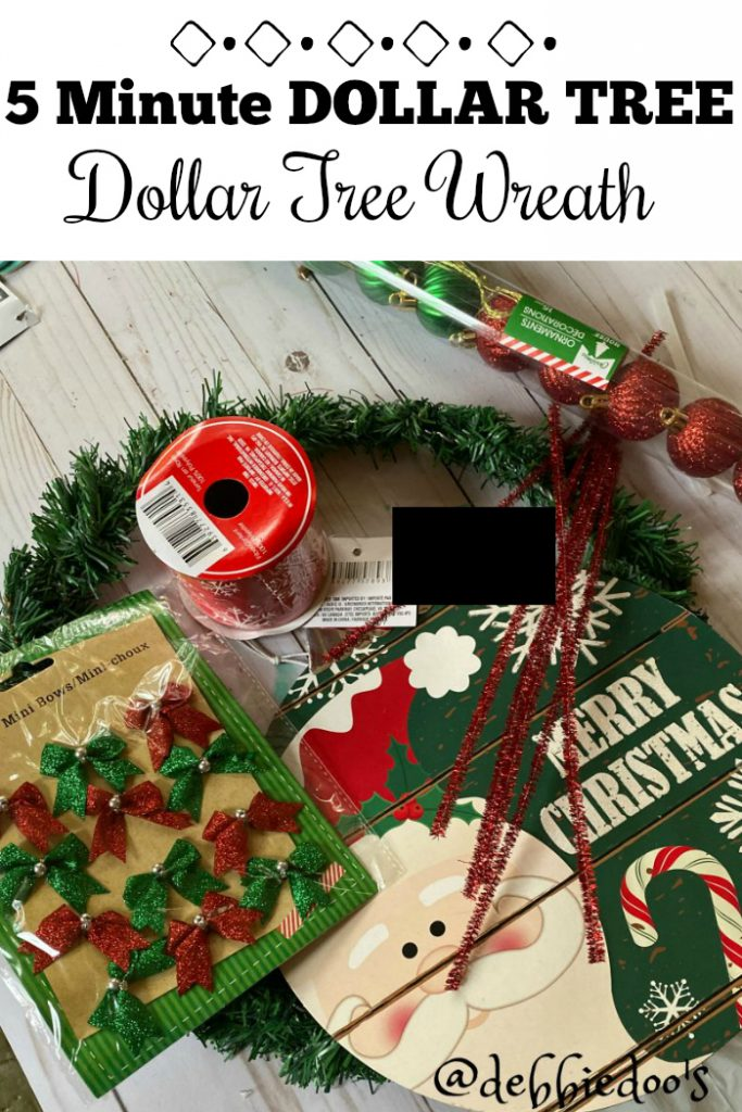 5 minute Dollar tree wreath diy with Dollar tree goods