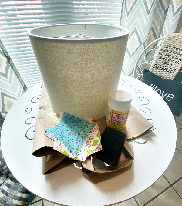 Lampshade makeover with fabric and Mod Podge