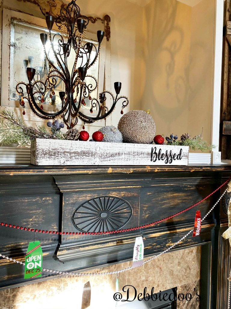 Farmhouse mantel Christmas decorating