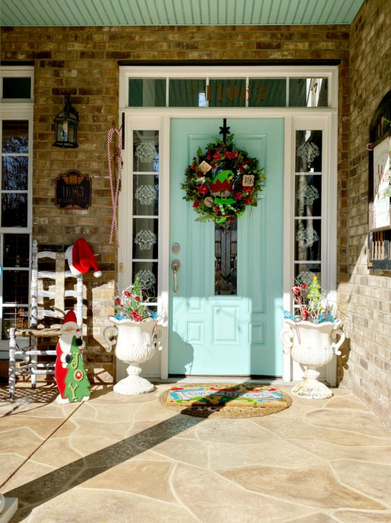 Fun and colorful Christmas porch decor