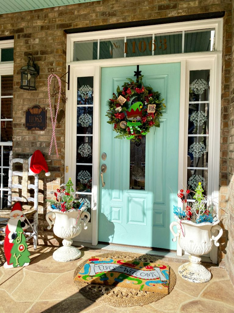 Colorful Christmas porch decorating