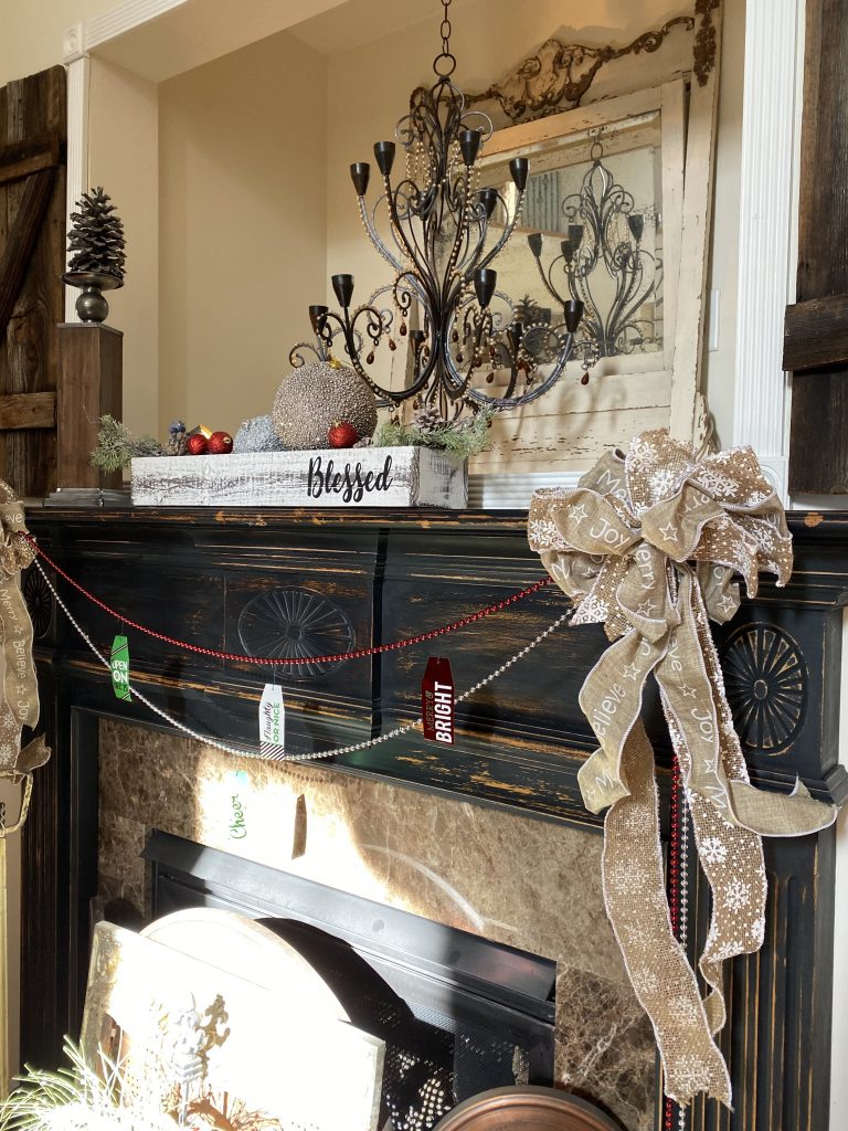 Farmhouse style Christmas mantel