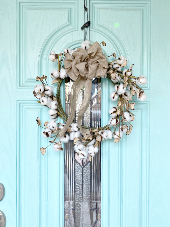 Southern Cotton wreath on front door