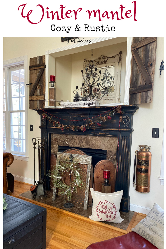 cozy rustic winter mantel decorating