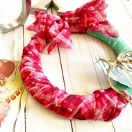 Dollar tree Valentine wreath with a scarf