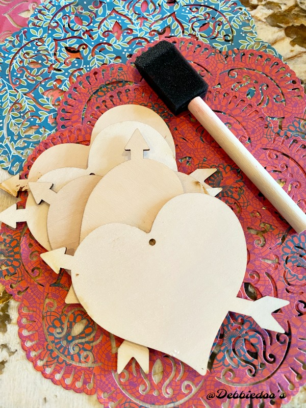 Dollar tree wood cut out heart craft idea