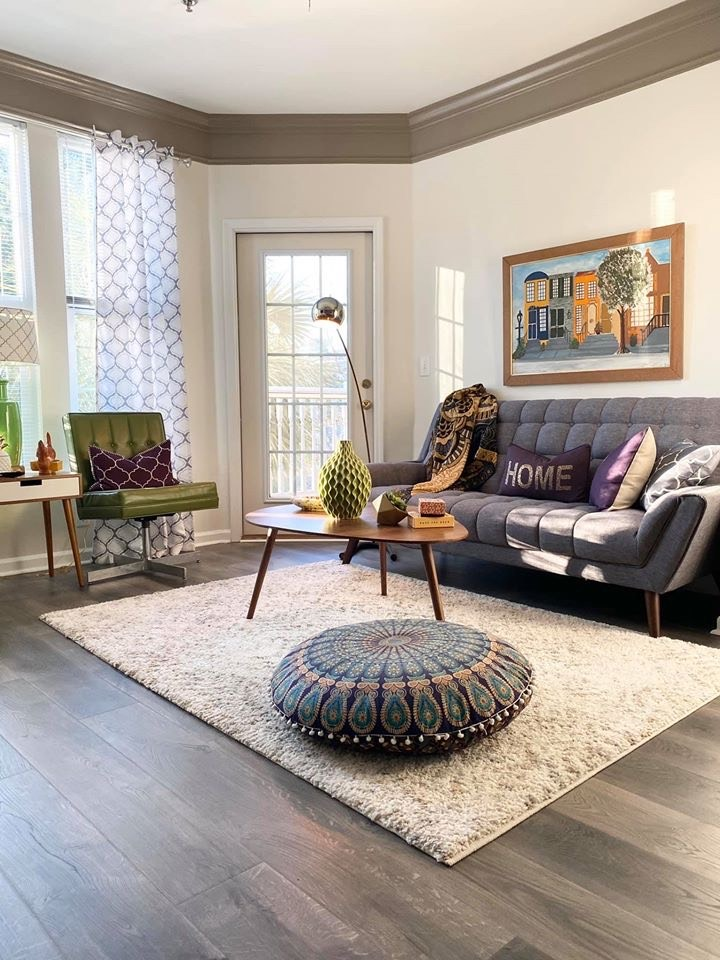 Mid Century modern with a mix of boho style living room