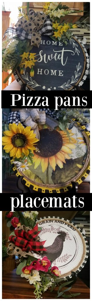 Dollar tree Pizza pans and place mat wreath or displays