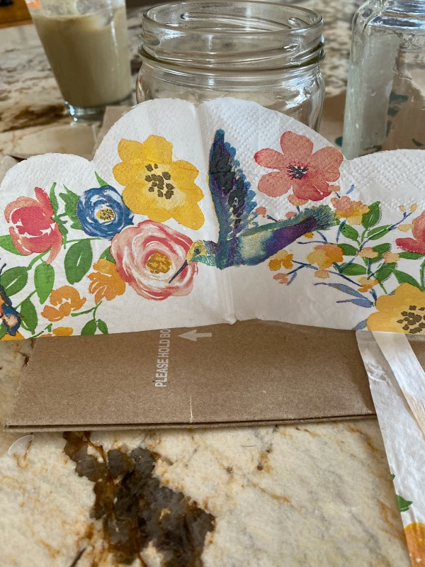 How to Mod Podge on glass with napkins