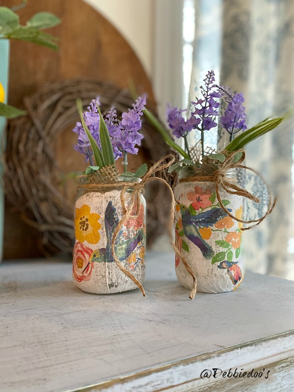 Mod Podge napkins on jars