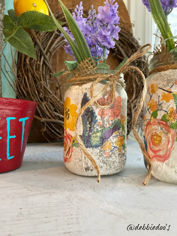 Napkins on jars using Mod Podge
