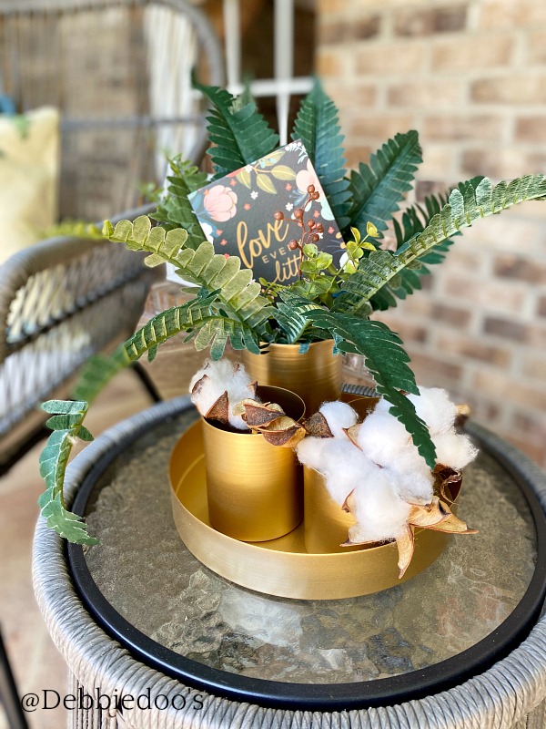 Brushed gold table top centerpiece by Decocrated