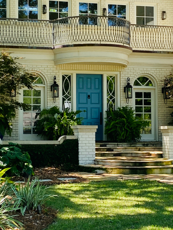 Periwinkle blue front door on Charleston home