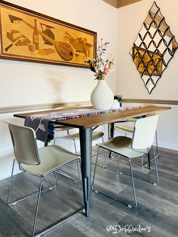 Boho dining room with steel case dining chairs